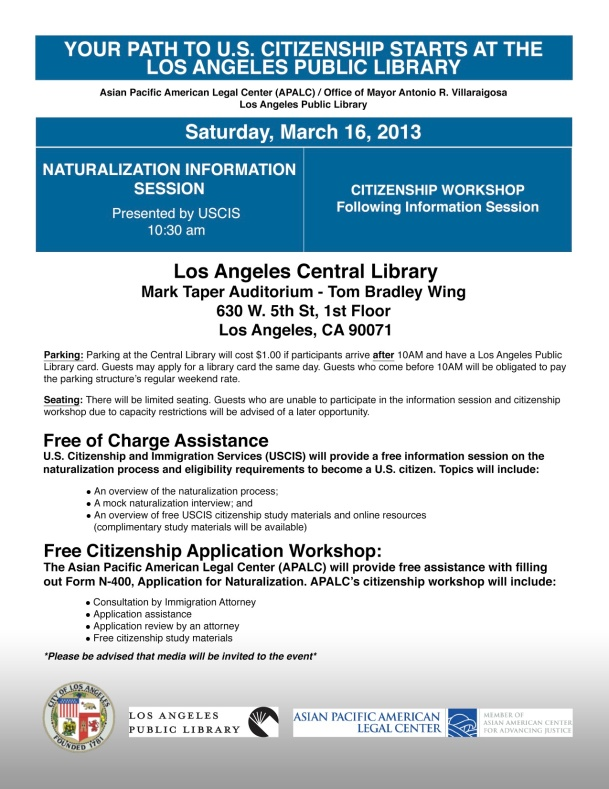 March 16th Pan-Asian Naturalization Workshop