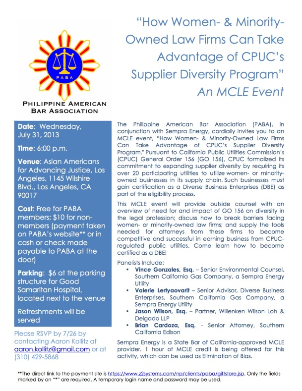 PABA - CPUC DBE CLE Event Flyer - FINAL as of 7-16-13