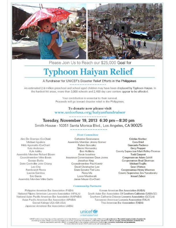 UNICEF - Fundraiser for Relief for Victims of Typhoon Haiyan - 11-19-13